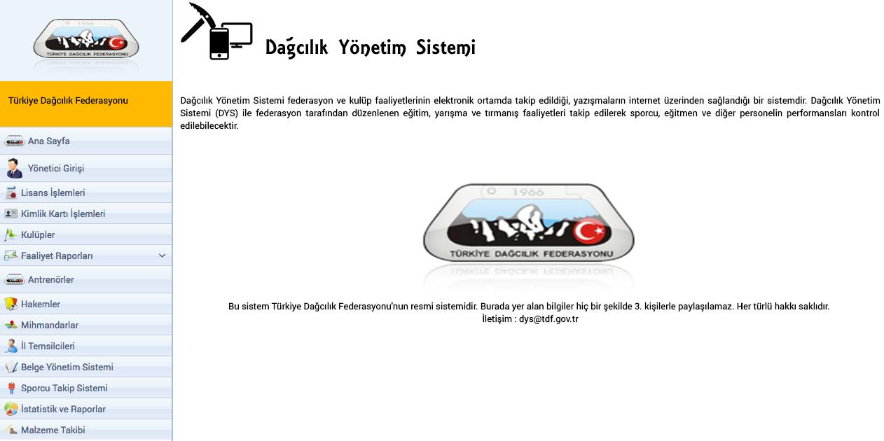 TDF-DYS / Dağcılık Yönetim Sistemi