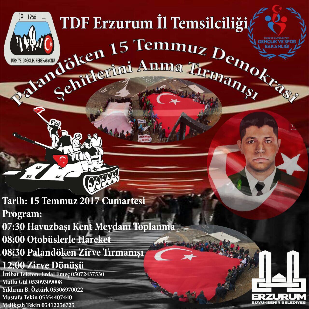 15 Temmuz Palandöken Demokrasi Şehitlerini Anma Tırmanışı