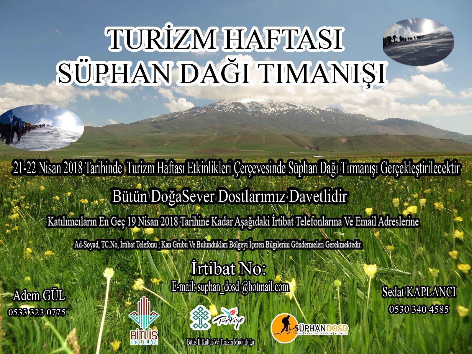 Turizm Haftası Süphan Dağı Tırmanışı Daveti