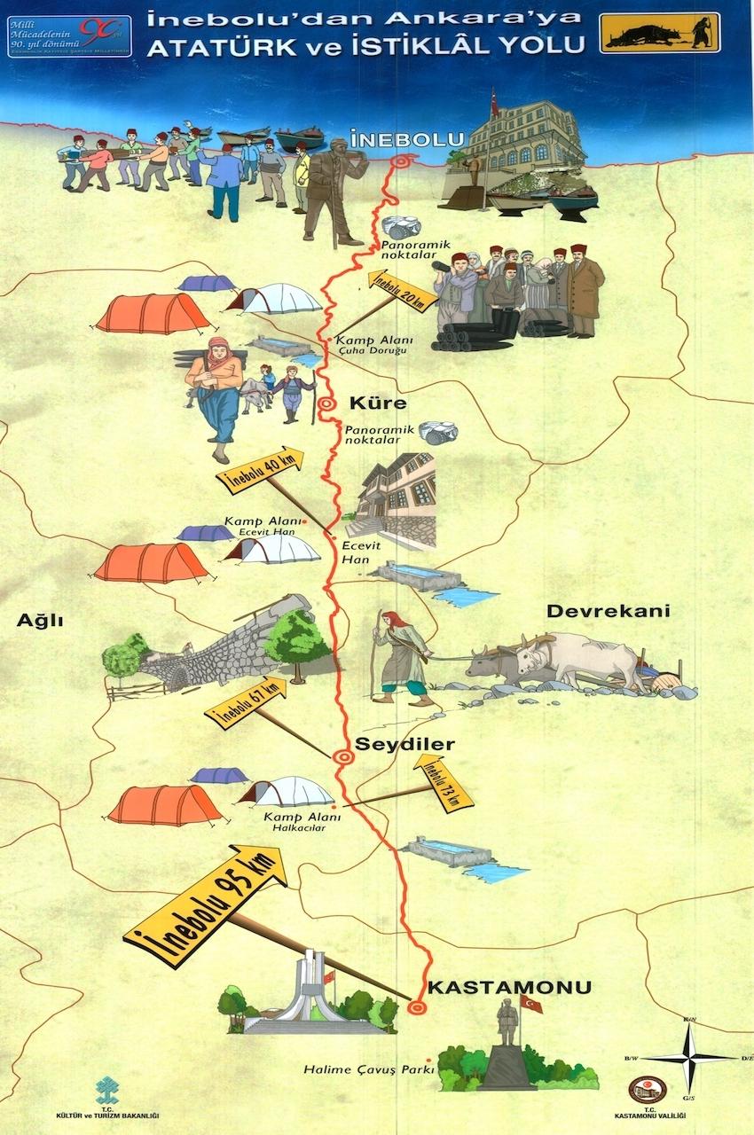 İnebolu - Kastamonu arası Atatürk ve İstiklal Yolu Yürüyüşü Daveti