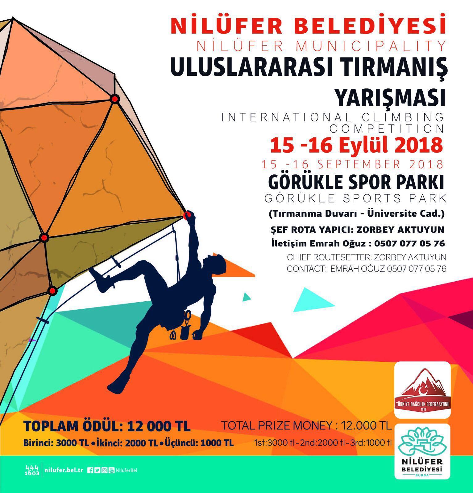 Nilüfer Belediyesi Uluslararası Lider Tırmanış Yarışması Duyurusu