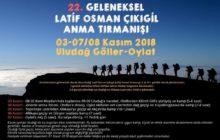 22. Geleneksel Latif Osman Çıkıgil (LOÇ) Anma Tırmanışı