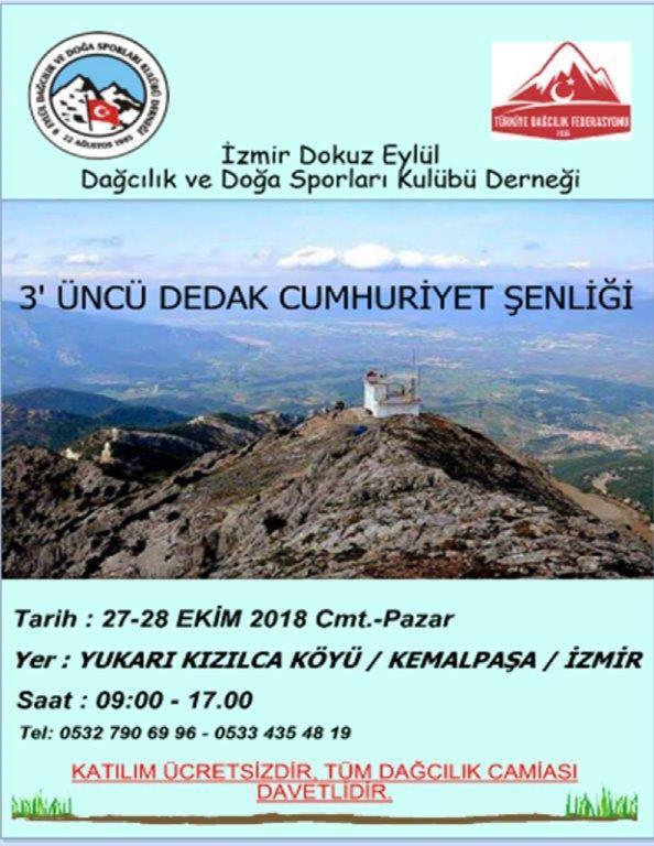 DEDAK 3. Cumhuriyet Şenliği Mahmut Dağı Tırmanışı Daveti