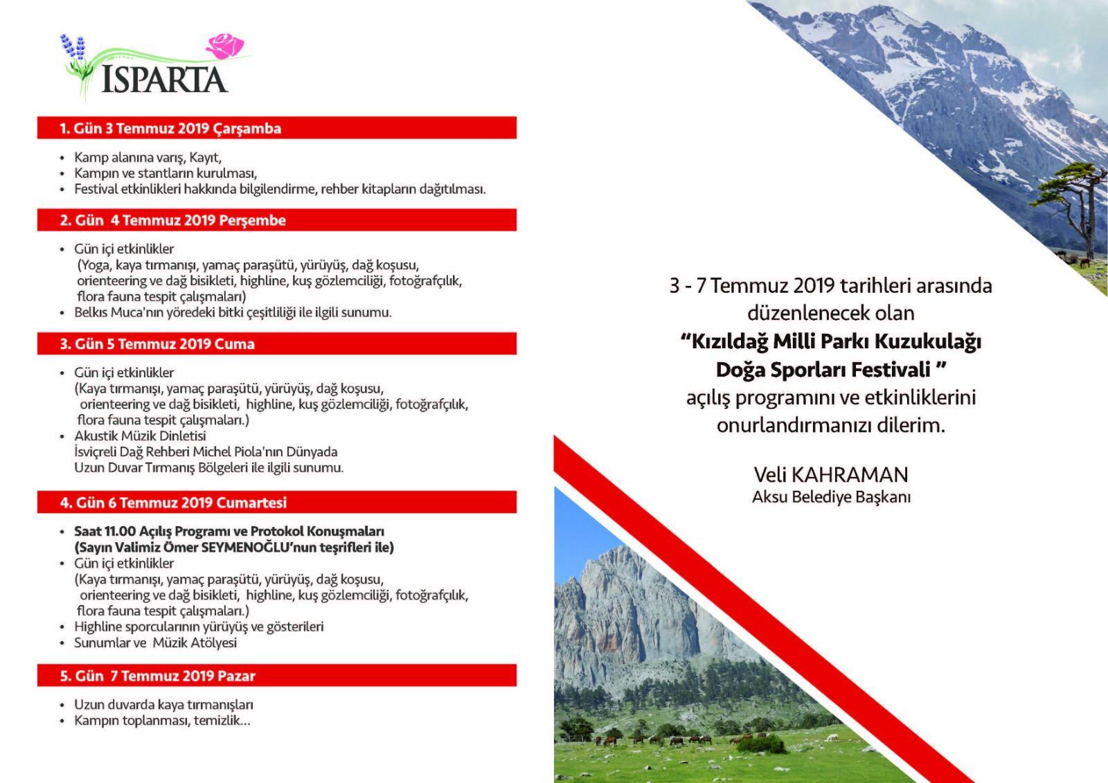 Kızıldağ Milli Parkı Kuzukulağı Doğa Sporları Festivali Daveti
