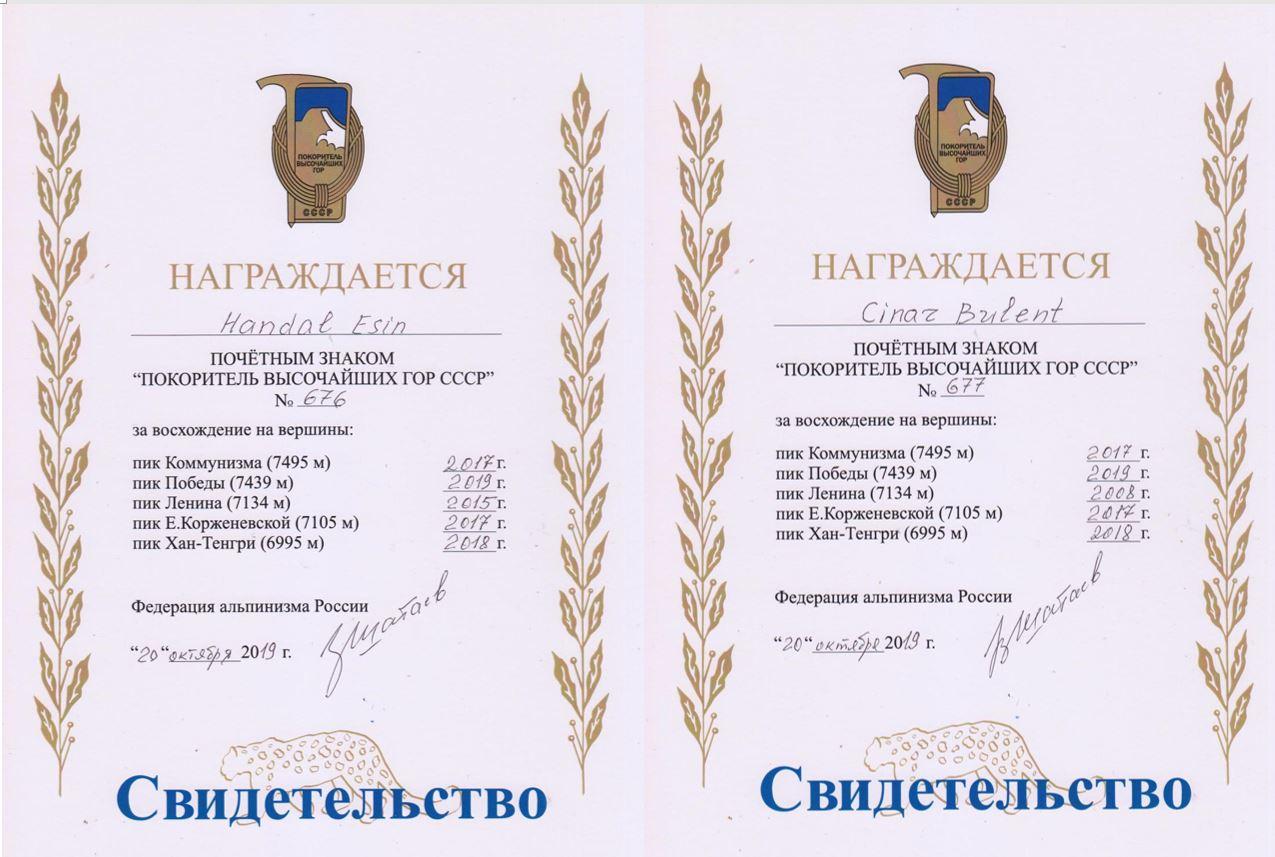 Kar Leoparı sertifikalarını aldılar.
