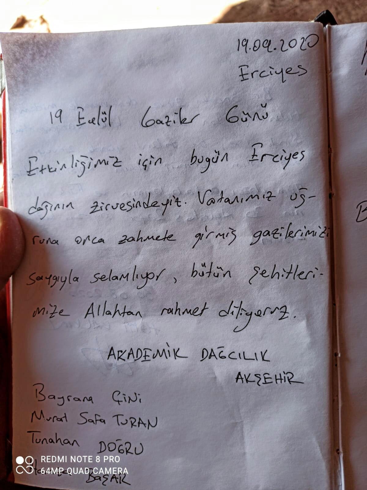 19 Eylül Şehit ve Gaziler Günü Erciyes Dağı Tırmanışı